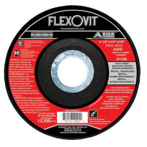 """HIGH PERFORMANCE by Flexovit A1236 4-1/2""""x1/4""""x7/8"""" A30S  -  FAST GRIND Depressed Center Grinding Wheel"""