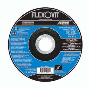 "HIGH PERFORMANCE by Flexovit A2226 5""x1/4""x7/8"" A24/30T  -  HEAVY DUTY Depressed Center Grinding Wheel"
