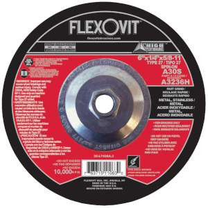 """HIGH PERFORMANCE by Flexovit A3236H 6""""x1/4""""x5/8-11 A30S  -  FAST GRIND Depressed Center Grinding Wheel"""
