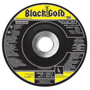 "BLACK GOLD by Flexovit A0712 4-1/2""x.125""x7/8"" ZA30T   -  FAST CUT Depressed Center Cutoff Wheel"