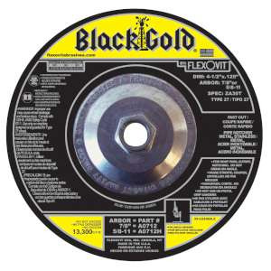 "BLACK GOLD by Flexovit A0712H 4-1/2""x.125""x5/8-11 ZA30T   -  FAST CUT Depressed Center Cutoff Wheel"