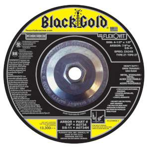 "BLACK GOLD by Flexovit A0734H 4-1/2""x1/8""x5/8-11 ZA24S   -  HEAVY DUTY Depressed Center Combination Wheel"
