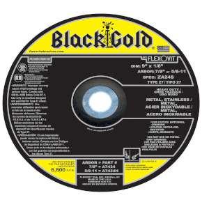 "BLACK GOLD by Flexovit A7434 9""x1/8""x7/8"" ZA24S   -  HEAVY DUTY Depressed Center Combination Wheel"
