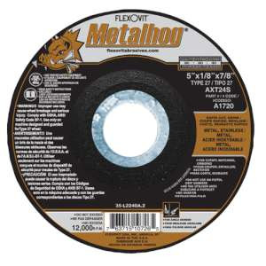 "METALHOG by Flexovit A1720 5""x1/8""x7/8"" AXT24S  -  RAPID CUT, GRIND Depressed Center Combination Wheel"