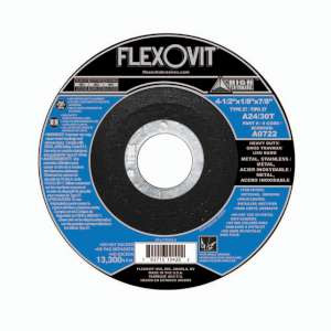 "HIGH PERFORMANCE by Flexovit A0722 4-1/2""x1/8""x7/8"" A24/30T  -  HEAVY DUTY Depressed Center Combination Wheel"