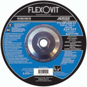 "HIGH PERFORMANCE by Flexovit A4177H 7""x1/8""x5/8-11 A24/30T  -  HEAVY DUTY Depressed Center Combination Wheel"