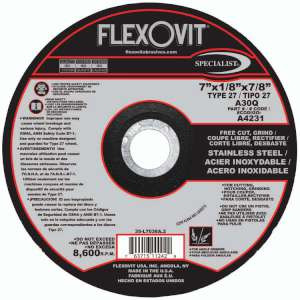 "SPECIALIST by Flexovit A4231 7""x1/8""x7/8"" A30Q  -  FREE CUT, GRIND Depressed Center Combination Wheel"
