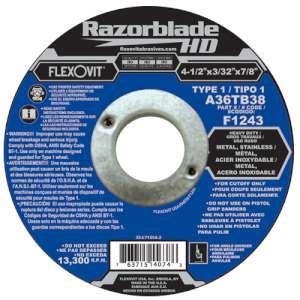 """RAZORBLADE HD by Flexovit F1243 4-1/2""""x3/32""""x7/8"""" A36TB38  -  HEAVY DUTY Reinforced Angle Grinder Cutoff Wheel"""