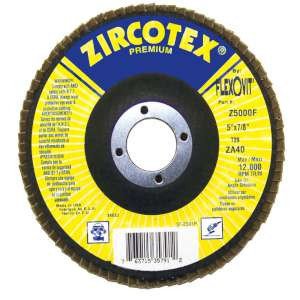 "ZIRCOTEX by Flexovit Z5000F 5""x7/8"" ZA40 FIBERGLASS BACKING PLATE  -  HIGH PRODUCTION Flap Disc"