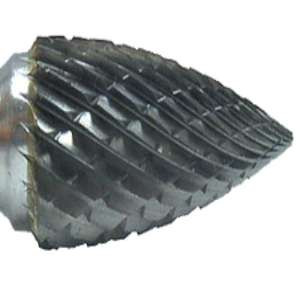 "HIGH PERFORMANCE by Flexovit VG24R3 3/4""x1""x3/8"" SHANK POINTED TREE DOUBLE CUT Carbide Bur"