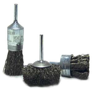 """HIGH PERFORMANCE by Flexovit C1910P 1-1/8""""x1/4"""" SHANK .020 CARBON KNOTTED Wire End Brush/Clamshell"""