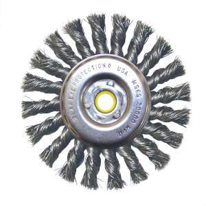 "HIGH PERFORMANCE by Flexovit C1070P 4""x5/8""x1/2"";3/8"" .014 CARBON KNOTTED; REGULAR TWIST Wire Wheel Brush/Clamshell"