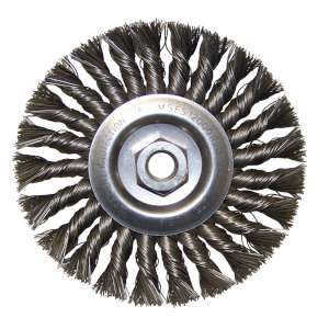 "HIGH PERFORMANCE by Flexovit C1100P 6""x3/8""x5/8-11 .023 CARBON KNOTTED; FULL CABLE TWIST Wire Wheel Brush/Clamshell"