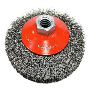 """HIGH PERFORMANCE by Flexovit C2300 4""""x5/8-11 .0118 CARBON CRIMPED Wire Saucer Brush"""