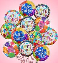 One Dozen Birthday Mylar Balloons