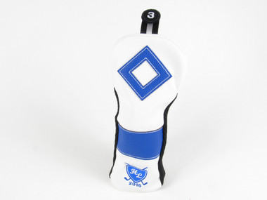 Back Nine Leather Golf Fairway 3 wood Headcover WHITE/BLUE
