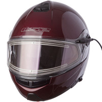 LS2 Strobe Wineberry Modular Snow Helmet with Electric Shield
