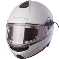 LS2 Strobe White Modular Snow Helmet with Electric Shield