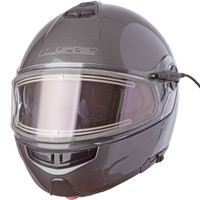 LS2 Strobe Gunmetal Modular Snow Helmet with Electric Shield