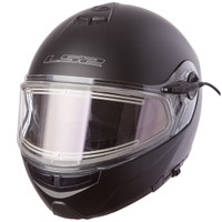LS2 Strobe Matte Black Modular Snow Helmet with Electric Shield