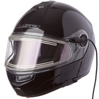 LS2 Strobe Black Modular Snow Helmet with Electric Shield