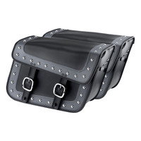Nomad USA Gray Leather Large Studded Motorcycle Saddlebags w/ Quick Release Buckles