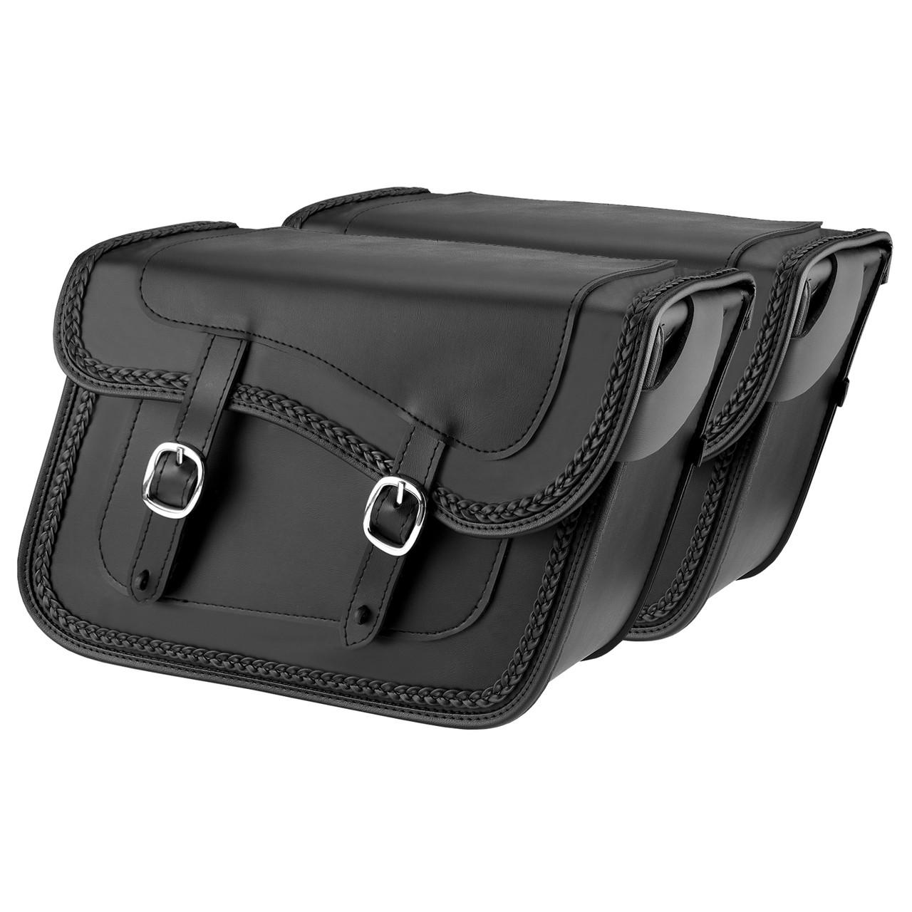 Nomad usa slanted braided leather motorcycle saddlebags for Motor cycle saddle bags