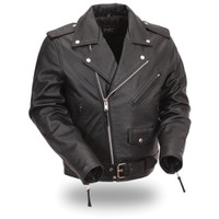 First Classics Milled Cowhide Mens Motorcycle Jacket