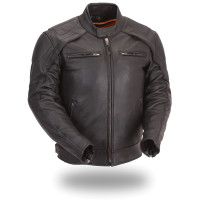 First Classics Padded Collar Edge Men Motorcycle Jacket