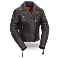 First Classics Women's Scarlett Star Leather Motorcycle Jacket