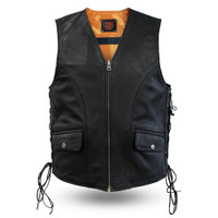 First Classics Men's Reversible Military Safety Leather Vest Black/Orange View