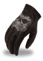 First Classics Men's With Reflective Skull Leather Gloves