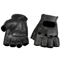Viking Cycle Men's Premium Leather Half Finger Motorcycle Cruiser Gloves