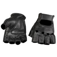 Viking Cycle Men's Premium Leather Half Finger Motorcycle Cruiser Gloves