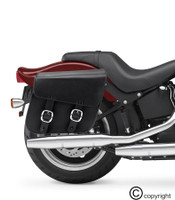 Nomad USA Slanted Black Leather Motorcycle Medium Saddlebags with Buckles