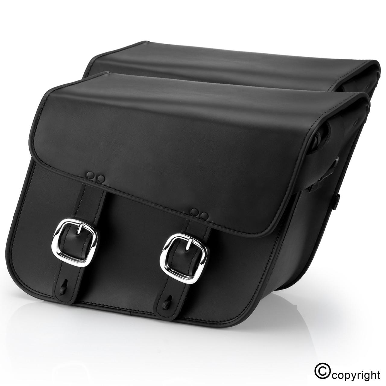 Nomad usa slanted leather black motorcycle medium saddlebags for Motor cycle saddle bags