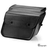 Nomad USA Slanted Medium Plain Black Leather Motorcycle Saddlebags Both Saddlebags