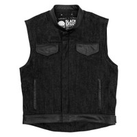 Black Brand Men's Black Denim Vest Main View