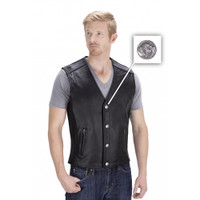 Viking Cycle Five Cent Motorcycle Vest for Men Button View