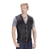 Viking Cycle Gun Pocket Motorcycle Leather Vest Front Side View