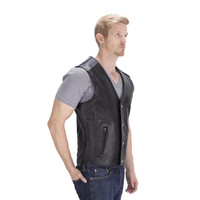 Viking Cycle Gun Pocket Motorcycle Leather Vest Side View