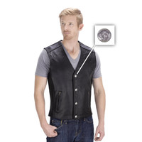 Viking Cycle Gun Pocket Motorcycle Leather Vest Button