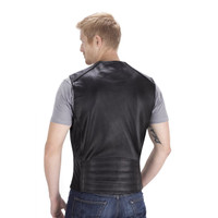 Viking Cycle Gun Pocket Motorcycle Leather Vest Back Side View