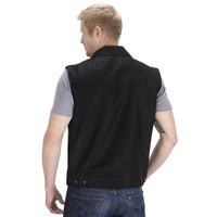Viking Cycle Freedom Motorcycle Denim Vest Black Back Side