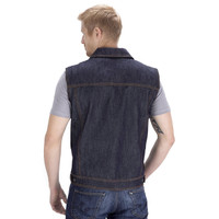 Viking Cycle Freedom Motorcycle Denim Vest Blue Back Side