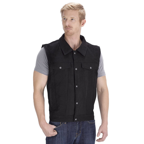 Viking Cycle Freedom Motorcycle Denim Vest Black Front Side
