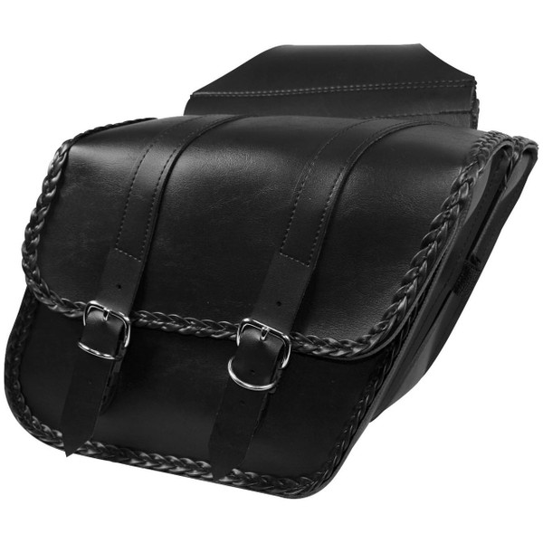 Willie & Max Compact Braided Slant Saddlebag Black