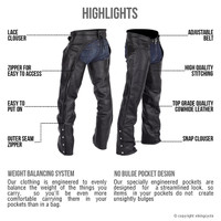 Nomad USA Braided Motorcycle Leather Chaps For Men Highlights