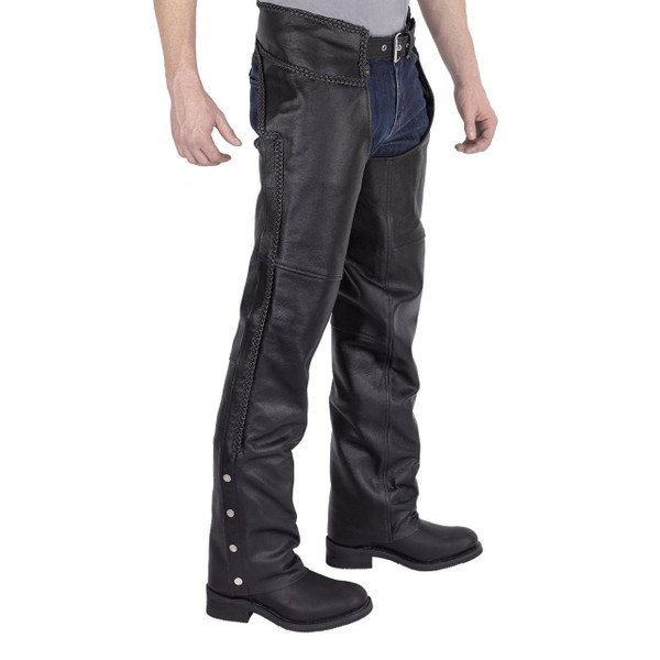 Viking Cycle Braided Motorcycle Leather Chaps Front View