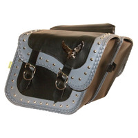 Willie & Max Studded Gray Thunder Compact Slant Saddlebag